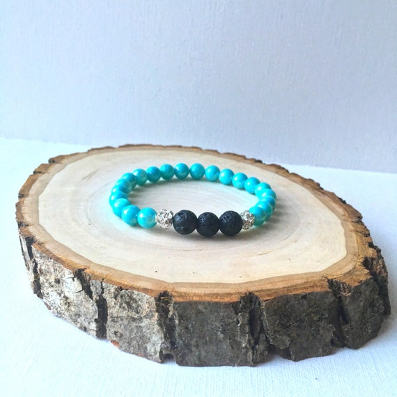 Essential Oil Diffuser Bracelet - Lava Rock and 7mm aqua stone with silver plated rhinestone ball stretch bracelet