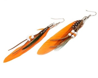 Orange Feather earrings