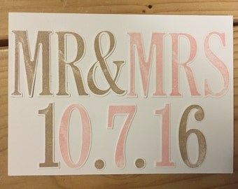 Handmade MR & MRS Wedding Date Keepsake