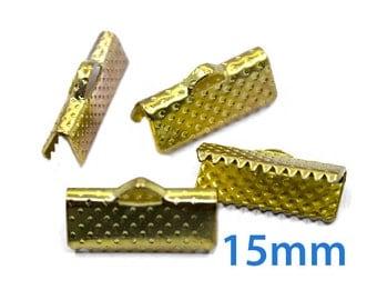 50 pcs 15mm Gold Ribbon Clamp End Crimps - Gold Tone