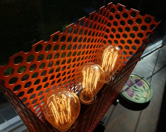 Orange mesh tri-bulb lamp