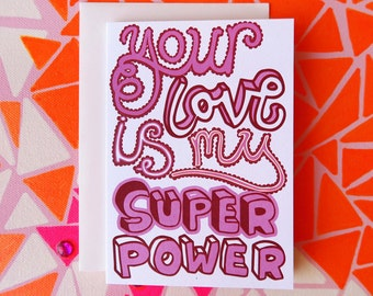 Super Love Typographical Greeting Card