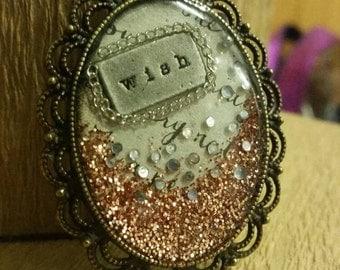 Handmade mixed media resin pendant  (no chain)