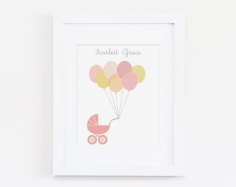 Personalized Stroller with Balloons Art Print - Instant Download
