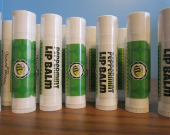 Set of Six All Natural BEESWAX LIPBALM - Peppermint