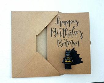 Happy birthday Anniversary batman superman spiderman ironman boys handlettered lego inspired birthday greeting personalised A6 card