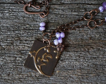 Field of Purple | Meadow Jewelry | Embossed Natural Brass | Nature Inspired Necklace