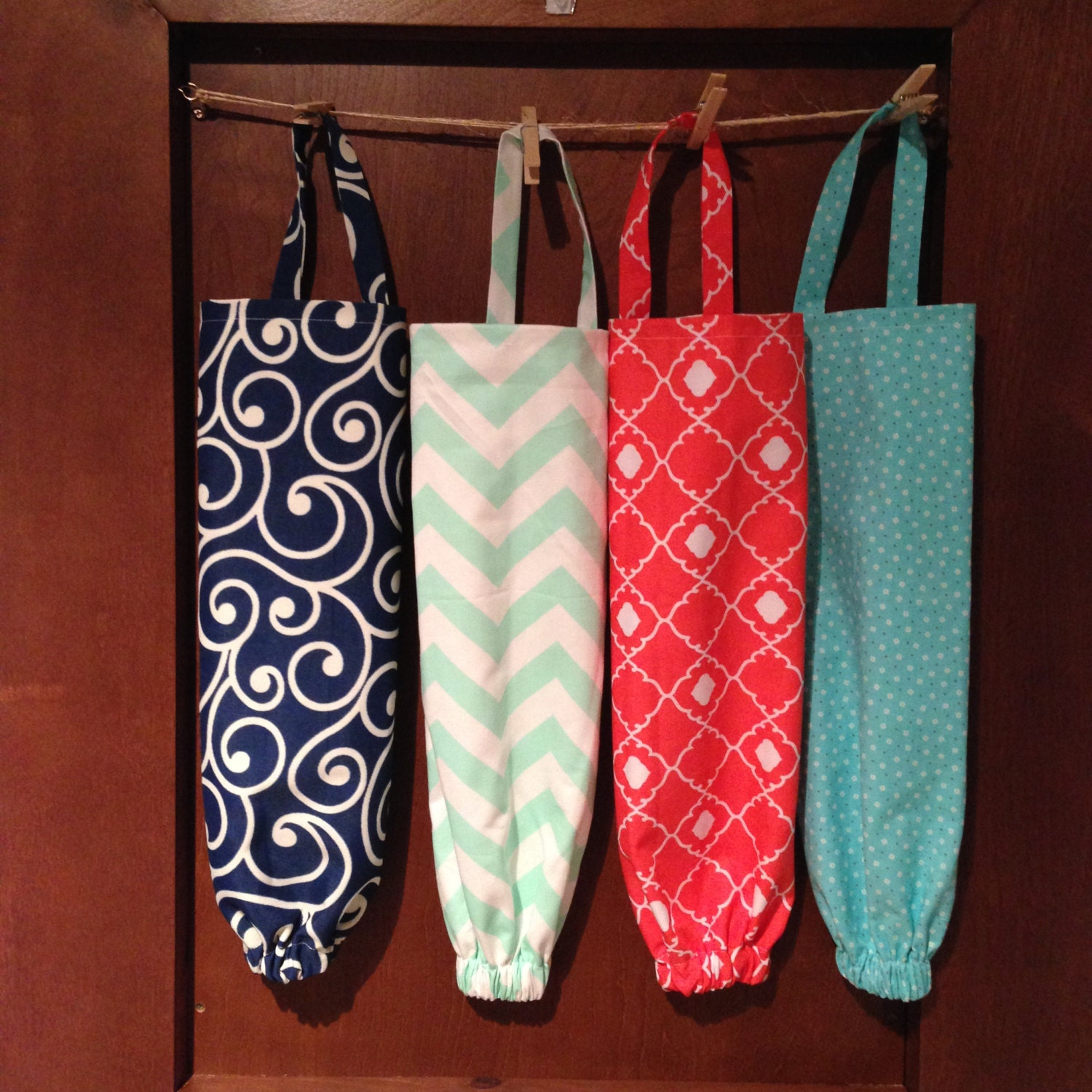 Fabric plastic bag holder kitchen organizer