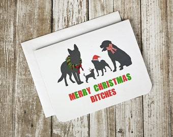 Funny Christmas Card, Christmas Card, Christmas Puns, Dog Christmas Card, Sweary Christmas Card, Dog Card, Group Card, Blank Card, Coworkers