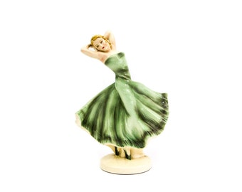 Czech Porcelain Dancing Woman Statue