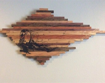 arylic and ink on shades of wood