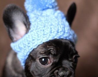 Pompom Puppy Dog Hat French Bulldog Fashion Beanie Toque Handmade Crochet Knit Boston Pug Chihuahua Clothe Boy Colors Blue