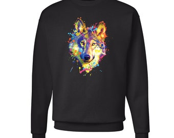 Neon Wolf Sweatshirt Colorful Hipster Sweater