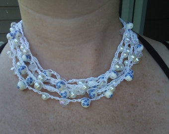Crochet pearl and crystal necklace