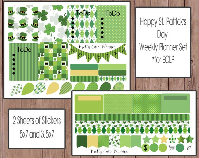 Saint Patrick's Day Sticker Set / Planner Sticker Set / Weekly Planner Set / Erin Condren Life Planner / ECLP