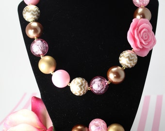 Pink and gold toddler necklace,pink and gold girls necklace,pink and gold baby necklace,rose gold,flower necklace,first birthday,photo prop
