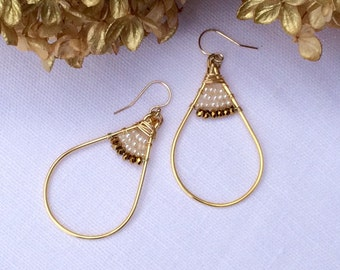 Freshwater pearl and gold pyrite earrings