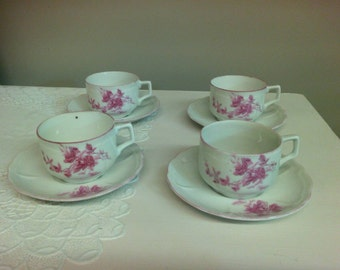 Set of Four China Teacups w/Saucers.  Made in China. SFEC.