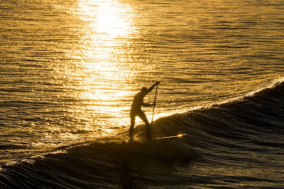 Gold Surfer, surfing, sports pictures, watersports, sunset, sea prints, ocean pictures, limited edition print, photographic print