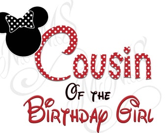 Cousin Minnie Mickey Mouse Mom Birthday Girl Shirt DIY Iron On Digital Art Little Sister Matching Red Black Dot Birthday Pregnancy