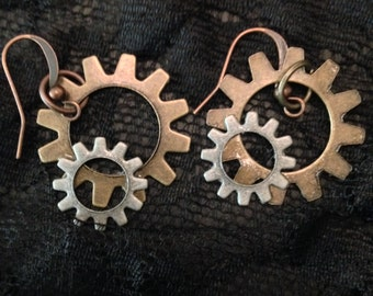 Gold and silver metal gear earrings, steampunk