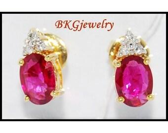 Unique Stud Gemstone Diamond Ruby Earrings 18K Yellow Gold [E0030]