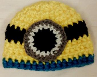 Baby Minion Hat, baby minion hat, baby shower gift, baby girl gift, baby boy gift, newborn hat, childrens minion hat, baby gifts for girls