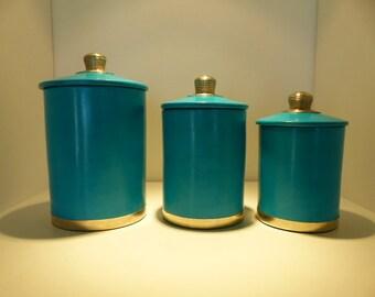 Lot of 3 cylindrical round boxes tadelakt emerald blue decoration