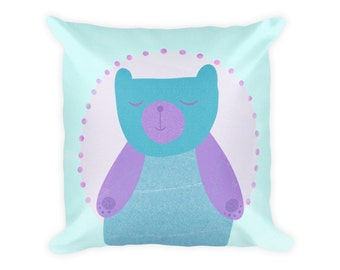 cute cushion, bear pillow, turquoise decorative pillow, colorful pillow, decorative throw pillow, unique pillows, kids throw pillows, pastel
