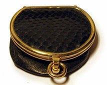 Vintage 1940s Coin Purse Black Leather Snakeskin Expandable Extendible Red Silk Lining Gold Clasp