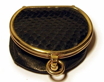 Black Leather Coin Purse Snakeskin 1940s Vintage Coin Expandable Extendible Red Silk Lining Gold Clasp