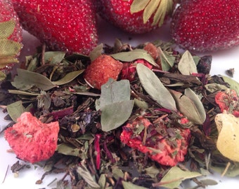 Say Aloha Loose Leaf Tea, Fruit Tea, Green Tea, Strawberry Tea, Pineapple Tea, Hibiscus