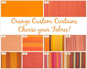 Orange Custom Curtains / Drapes: FREE Shipping, Fully Lined, Four Heading Styles, Handstitched - Orange Window Curtains, Curtain Panels