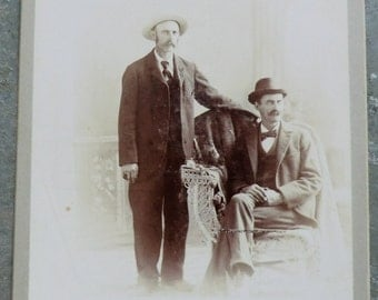 Two Men Cabinet Card Photo Wearing Hats Mustaches Bowler and Brim Hat