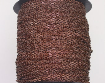 300feet Antique Copper Cable chain - 2x3mm Unsoldered Link, antique Copper Flat Cable chain, Chain by the foot, Chain bulk chain