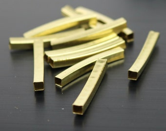 25 Square Raw Brass Curved Tubes Spacer Beads (25x3x3mm)