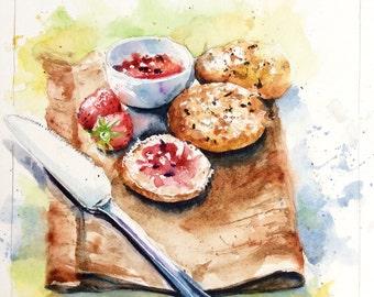 "Painting original Watercolour ""Jam sandwich"" Strawberry kitchen bread kitchen"