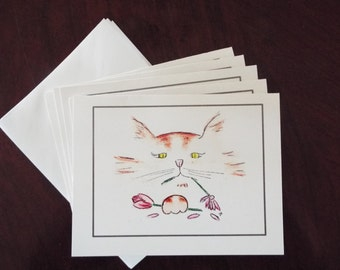 Cat Destroying Flowers Note Cards