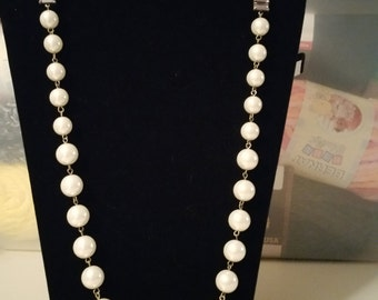 Miriam Haskell Pearl and Rhinstone Necklace