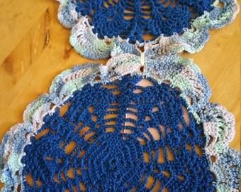 Pastel blue doilies
