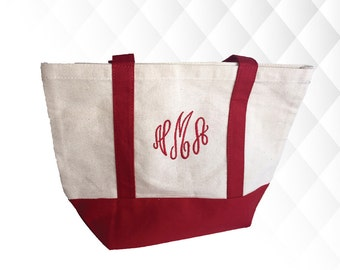 Monogrammed Personalized Small Tote Bag - Embroidered with 3 Initials - Gift for Weddings, Birthdays, Bridesmaids, Quinces