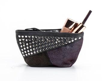 Small evening purse-Wristlet purse-Unique leather purse-Soft leather bag-Clutch purse-Cosmetic bag-Studded leather bag-Black leather purse
