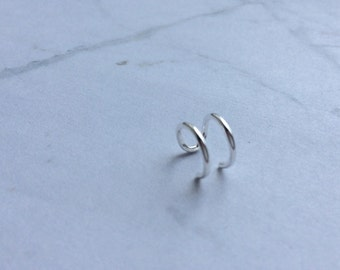 Sterling Silver Ear Cuff. No piercing, Minimal, contemporary, simple, urban, stylish, to wear on lower cartilage