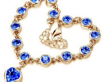 Heart shaped Blue Crystal bracelet