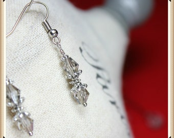 Smokey Crystal and Silver Dangle Earrings