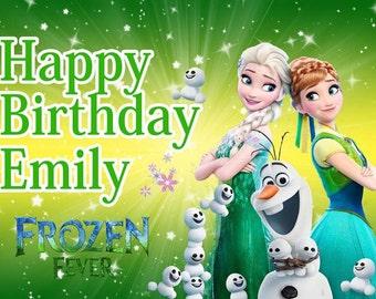 Disney Princess Anna Elsa Frozen Fever Icing Birthday Cake Topper A4