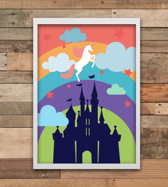 Wall Decor Home Party : Unicorn party castle wall art print home decor minimalist