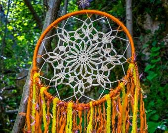 Dream catcher solar, attrape rêves, xamanism, decoration murale, tenture murale, fait main, capteur de reve solaire