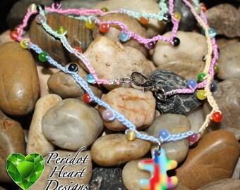 Autism Crocheted Wrap Bracelet with Puzzle Piece