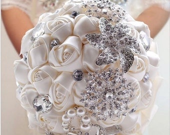 New Custom Color Wedding Bridal Quinceanera Crystal Brooch Bouquet